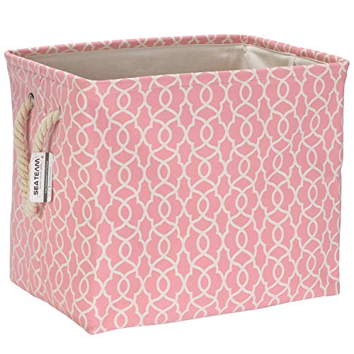Sea Team Thickened Canvas Fabric Storage Basket with Cotton Rope Handles Rectangle Storage Bin Organizer 165 x 12 x 13 Inches Pink