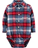 Osh Kosh Baby Boys Woven Bodysuit, Blue/Red Plaid, 12 Months