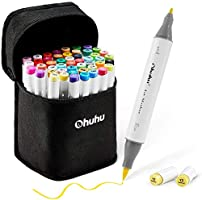Ohuhu 48 Colours Alcohol Brush Markers, Ohuhu Double Tipped (Brush & Fine Tip) Sketch Markers