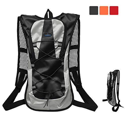 Bike Backpack 5L Water Resistant with Night Reflective Tape,Small Cycling Rucksack Breathable Lightweight for Women Men Ladies Junior,Mini Running Backpack for Bicycle,Riding,Marathon,Hiking(Black)