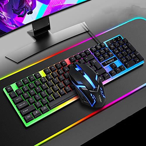 DAXGD Conjunto de teclado y ratón para juegos de contraluz, teclado con cable con retroiluminación LED para el ordenador portátil, 104 teclas