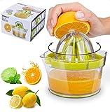 Citrus Juicer, Orange Juicer, with Strainer Built-in Measuring Cup and Grater Anti-Slip Reamer Extraction Egg Separator 12OZ