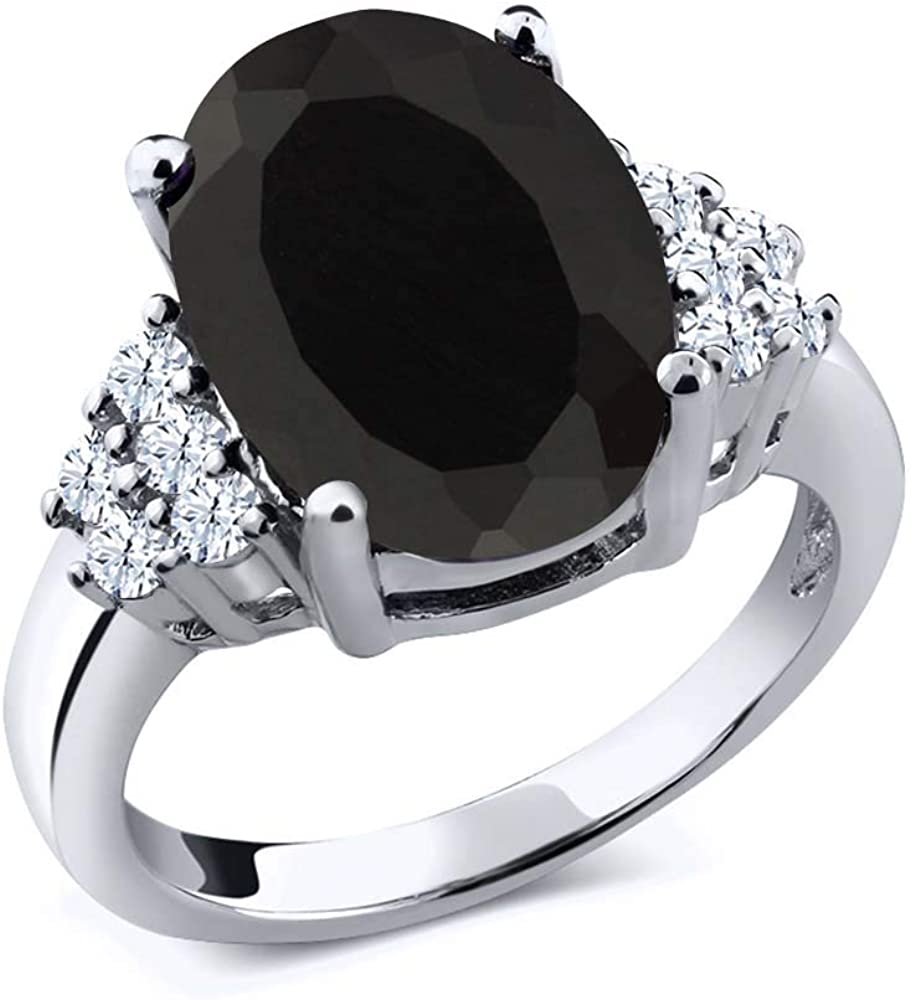 Year-end annual account Gem Stone King Limited time cheap sale 925 Sterling Silver Onyx Black Women's Engagement