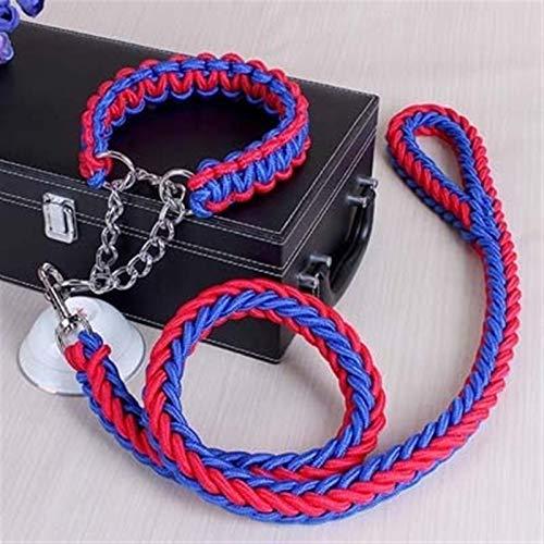 Cuerda de doble cadena hecha a mano Cuello de perro grande y correa Conjunto de metal P Cadena Hebilla PET entrenamiento de mascotas Cuerda de escalada Accesorios para perros 10256