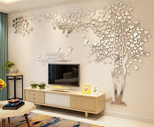 ZZYOU 3D Wandtattoos Mauer Aufkleber Enorm Grün Baum Mauer Abziehbild Mauer Wandbilder Acryl Wandaufkleber DIY Zuhause Dekoration Kunst (L, Silber,Links)