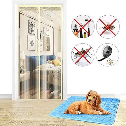 WHDMNet Mesh-scherm deur Mosquito Net, voor feestjes, sleuteldeuren, magnetische schermdeur, zelfsluitend, deurnet, magneetgordijn, kindervriendelijk, volledig frame