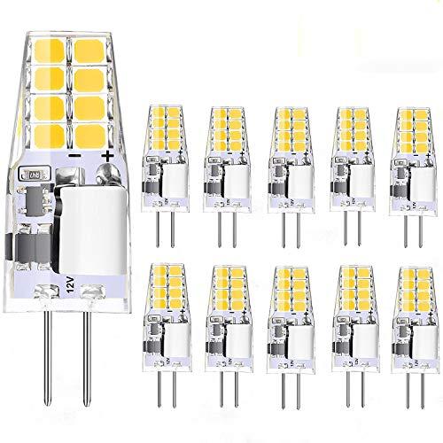 Jpodream G4 LED Lampen 10 Pack 2W G4 LED Bulbs Kein Flimmern G4 LED Kaltweiss 6000k 220LM Ersatz für 20W Halogenlampe AC/DC-12V, CRI≥80+ 360 ° Strahlwinkel Energiesparlampen [Energieklasse A +]