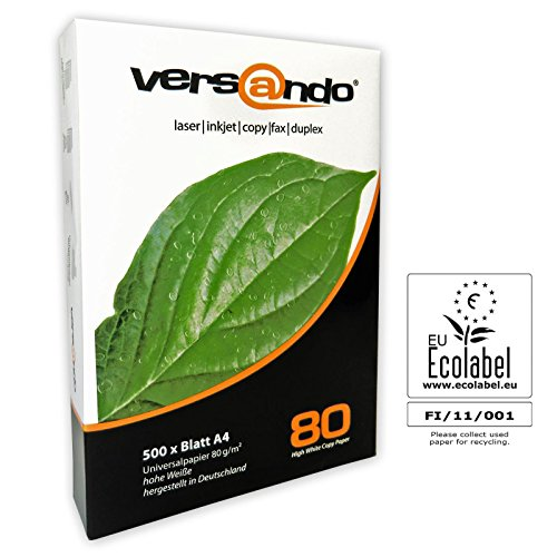 500 Blatt Druck- und Kopierpapier Marke versando 80 High White DIN A4 80g/m² Kopierpapier, Druckerpapier, Universalpapier, Papier, Qualitätspapier, Seiten, Fotokopierpapier