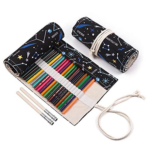 astuccio arrotolabile Rongxi astuccio tela 48 fori astuccio matite Custodia per matite sacchetto per matite Astuccio 2 estensori per matita