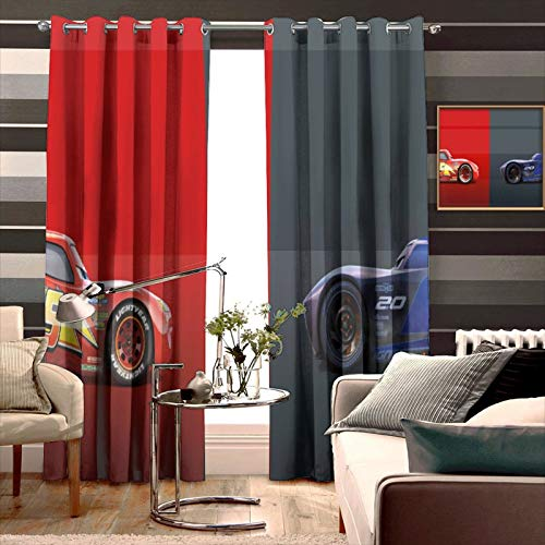Blackout Curtains,Cars Jackson Storm Lightning McQueen (3), Grommet Top Thermal Insulated Darkening Window Drapes for Bedroom, Cute Animal Boys Girls Room Décor, 2 Panels,72x84 inch