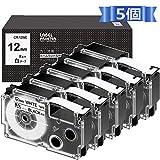 12mm 互換 白 カシオ ネームランド テープ 12 XR-12WE XR 12WE CASIO テープカートリッジ 黒文字 5個セット ASprinte