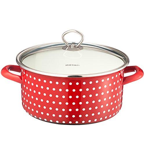 Kochtopf Coletto 24cm | mit Deckel | rot mit weißen Punkten | für alle Herdarten + Induktion | Emaillierter Carbonstahl | Innenskalierung | Gemüsetopf | Suppentopf
