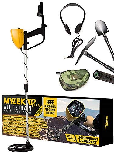 MYLEK MYMD1062 Metal Detector Waterproof Complete with Bag, Headphones, Shovel & Pick/Compass Tool Kit for Kids & Adults, Yellow and Black