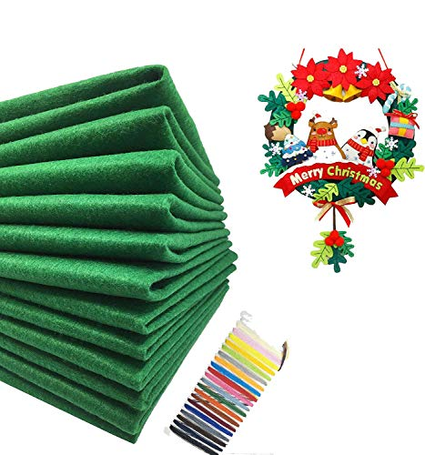 Levylisa 30pcs (12''x12'') Green Felt Sheets, Christmas Green Felt Fabric, Pure Felt, Emerald Green Felt, Felt Square,Christmas Ornaments, Stockings and Wreaths, Holiday Crafts,Felt Fat Quarters