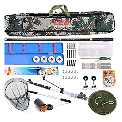 YROD Fishing Rod, Full Set Of Fishing Equipment Super Hard Pole Set Lightweight Carbon Fiber Flexible Anti-winding Rock Fishing Lure Rod Kit With Fishing Bag, Line, Lure, Hook, Net, Support by YROD