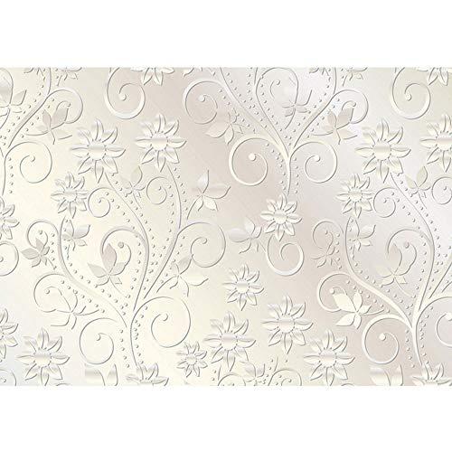 Vlies Fototapete 200x140 cm PREMIUM PLUS Wand Foto Tapete Wand Bild Vliestapete - Ornamente Tapete Abstrakt Blumen Blüten Schnörkel Ranke weiß - no. 546