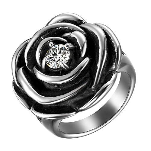 JewelryWe Anello da Donna di Acciaio Inossidabile,Forma di Rosa con Diamante, Colore Argento 12