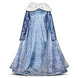 Kosplay Niñas Cosplay Vestido de Princesa Elsa con Capa Vestido de Manga Larga Vestido Azul de Cuello Blanco Disfraz Ceremonia de Fiesta Halloween Navidad 3-9 años 100-150cm