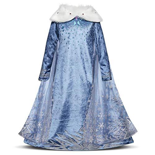 Kosplay Nias Cosplay Vestido de Princesa Elsa con Capa Vestido de Manga Larga Vestido Azul de Cuello Blanco Disfraz Ceremonia de Fiesta Halloween Navidad 3-9 aos 100-150cm