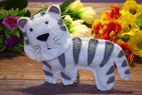 Weißer Tiger Spielzeug Filz Baby Rassel Wildes Tier Kinderzimmer Dekor Beißring Tigerin