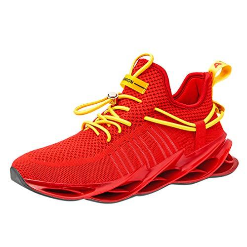 Scarpe da Corsa Uomo Traspiranti Slip on Blade Sneakers Casual da Ginnastica Energia Atletica Tennis All'aperto (39 EU, Red)