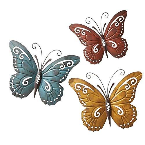 OH Ilustraciones Pared Del Metal de la Mariposa Decoración de la Pared - Juego de Tres Arte de la Pared Del Producto - Cuelgue en Interiores O Exteriores Listo para Colgar fuerte y