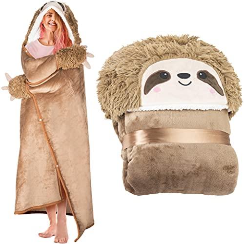 Sloth Wearable Hooded Blanket for Adults - Super Soft Warm Cozy Plush Flannel Fleece & Sherpa Hoodie...