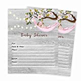 Girl Baby Shower Invitations Rustic Qty of 20 Invites and Envelopes