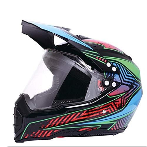 Claean-Acces-Home BMX Helm Kinder Mate schwarz Dual Sport Offroad Motorradhelm Dirt Bike (M Blau) Vollgesicht-Star_L.