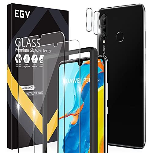 EGV Compatibile con Huawei P30 Lite Protector de Pantalla,2 Pack Cristal Templado e 2 Pack Protector de Lente de Cámara