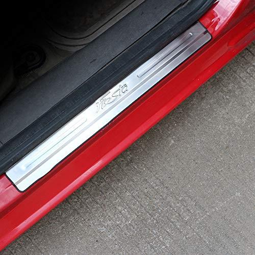 Dörrtröskel Scuff Plate Rostfritt stål Bildörr Tröskelplåt dörrar Sill Plattor klistermärke Fit är kompatibla med Ford Fiesta MK7 2009-2018 Car Styling Tillbehör Applikation