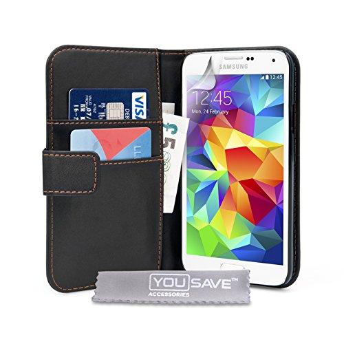 Yousave Accessories Custodia Portafoglio per Samsung Galaxy S5, PU Pelle, Nero