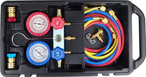JTC ハイブリッド車 R134a用マニホールドゲージ電動コンプレッサー POEオイル対応 ハイブリット車用ゲージマニホールド JTC1105BH