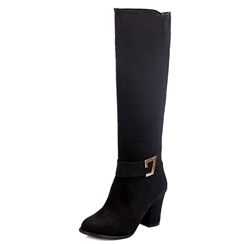 8d4f4a75427 SJJH Women Knee-High Boots with Chunky Heel and Suede Material Women Boots  with Large