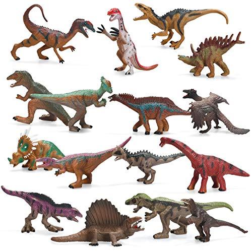Dinosaur Toys Set 16 Pack Jurassic World Realistic Figures Toddler Toys for Kids 5-7 Dinosaur Model Toys Party Supplies Educational Toy Spinosaurus T-Rex Velociraptor Brachiosaurus Toy (16 Pack)