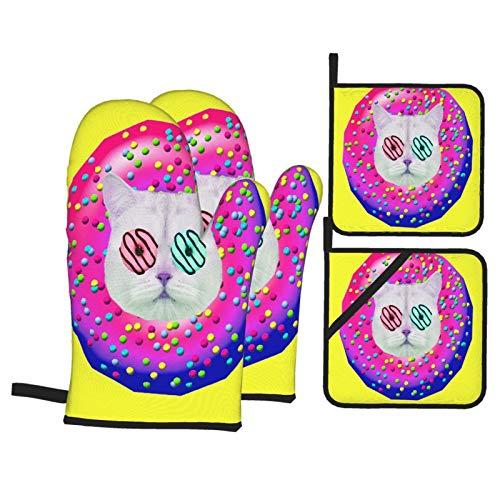 Juego de Manoplas y Porta ollas para Horno,Donut Cat Mood Collage de Arte contemporáneo,Guantes y agarraderas Resistentes al Calor para cocinar,Hornear,Asar,Servir,Barbacoa o Cena