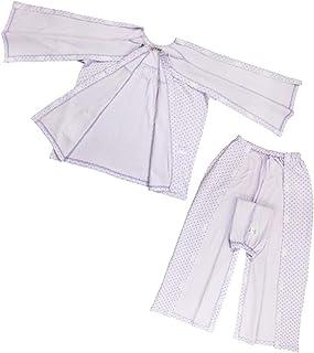 D DOLITY 患者服 パジャマ コットン 介護 病院診察 失禁 寝たきり 女性 高齢者 脱着簡単 全4サイズ