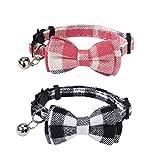 QH-Shop Collar para Gatos de Liberación Rápida con Clásico Pajarita de Cuadros, y Campana, Ajustable Collar Mascotas para Gatos y Perros Pequeños