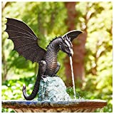 Gartenfigur Garten-Drache Wasserspeier, Wasserspray Drachen Harz Wasserlandschaft Skulptur,...