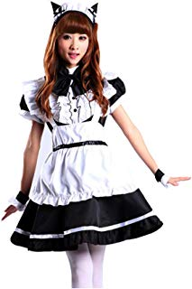 Women's Cosplay Apron Maid Fancy Dress Anime French Maid Lolita Costume with Cat Ear