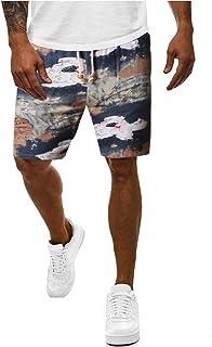 waitFOR Men Summer Floral Printing Beach Shorts Drawstring Elastic Waist Cotton Linen Sport Shorts Plus Size Short Trouser...