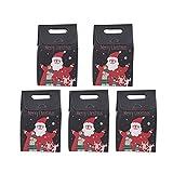 5 Cajas de Regalo navideñas de Papel Kraft, Bolsas de Regalo con asa Bonita de Papel navideño, Bolsas de Papel para Dulces, Galletas, para Suministros para Fiestas navideñas (Estilo # 05)