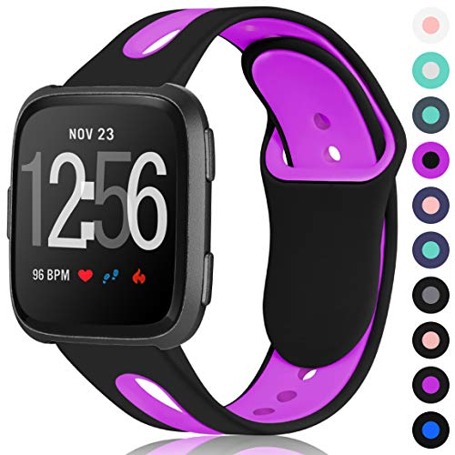 Maledan for Fitbit Versa Bands Women Men, Replacement Breathable Sport Watch Bands Accessories Strap with Stainless Steel Clasp for Fitbit Versa, Large, Black Purple