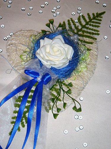 Tischdekoration blau zur Hochzeit Verlobung Kommunion Tischdeko Sisalherz TD0034