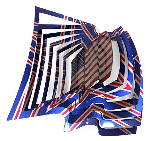WorldaWhirl Whirligig 3D Wind Spinner Hand Painted Stainless Steel Twister Flag (6.5' Inch, Multi Color)