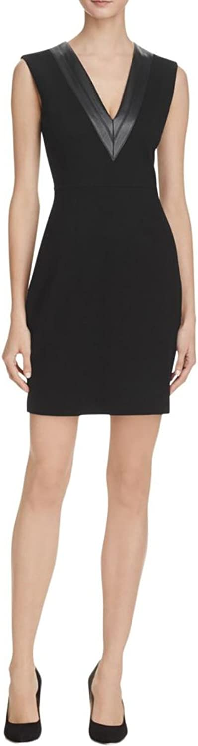 Bailey 44 Womens Faux Leather Trim Sleeveless Casual Dress Black S
