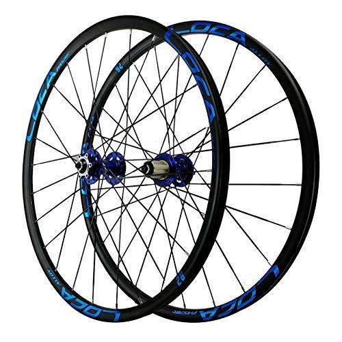 Rueda para Bicicletas,Aleación Aluminio Llanta de Bicicleta Montaña de Dos Pisos Frenos de Disco Seis Orificios de Montaje Clavos Ciclismo Wheels 26/27,5' (Color : Blue hub, Size : 27.5inch)