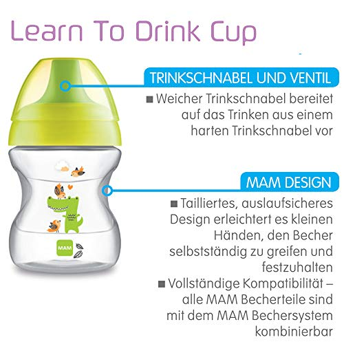 MAM 62835120 – Learn To Drink Cup Fashion190 ml, Trinklernbecher, gelb/neutral - 2