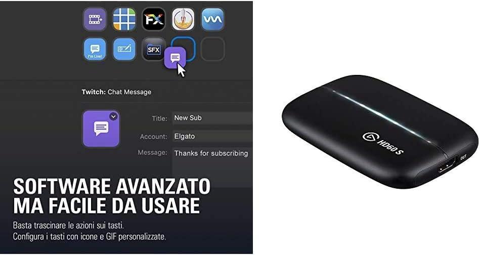 Elgato Stream Deck + Elgato Game Capture HD60 S - 15 teclas LCD personalizables, Capturadora, 1080p60, para Windows 10 y macOS 10.13 o posteriore