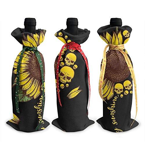 3pcs Christmas Wine Bottle Cover 3d Sunflower Skull Head Wines Bottles Decoration Bags For Xmas New Year Party Birthday Dinner